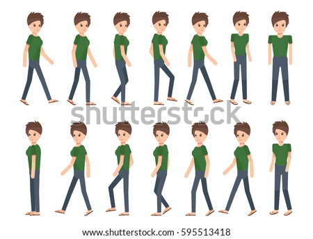 Collection Set Walking Woman Sprite Frame Stock Photo (Photo, Vector ...