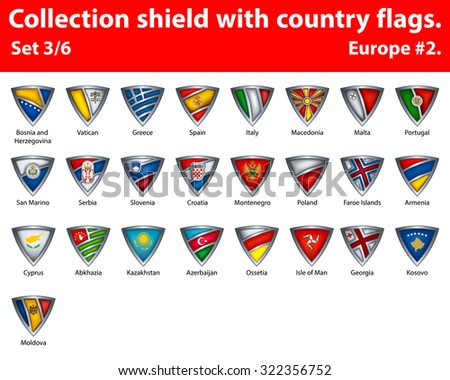 Collection shield with country flags. Part 3 of 6. Europe. - stock vector