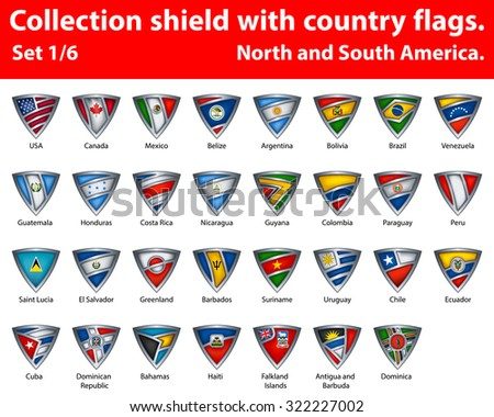 Collection shield with country flags. Part 1 of 6. North and South America. - stock vector