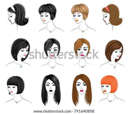 Collection Silhouettes Head Lady Girls Show Stock Vector (Royalty ...