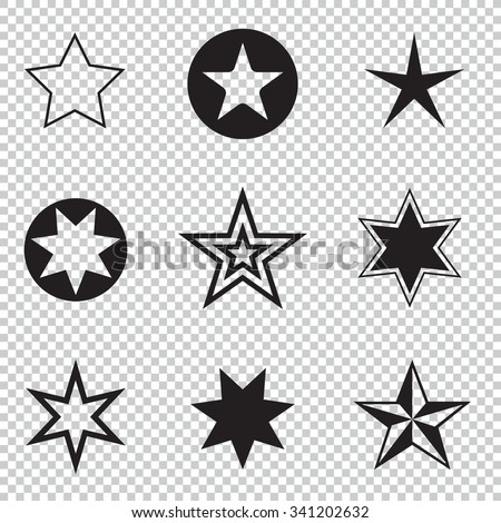 Collection simple rounded star rating. With outlines makes the stars. isolated. - stock vector