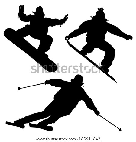 Collection. Snowboarders And A Skier. Vector - stock vector