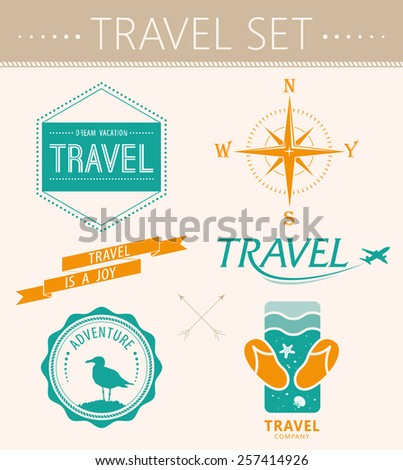 Collection  summer labels, labels, badges and icons - stock vector