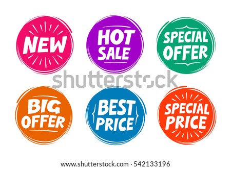 Collection symbols such as Special offer, Hot sale, Best price, New. Icons vector illustration