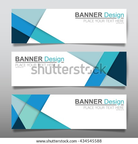 Collection Triangle Blue Horizontal Business Banner Set Vector Templates Clean Modern Geometric Abstract Background Layout