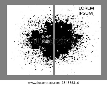 Collection two cards of ink splatter  - stock vector