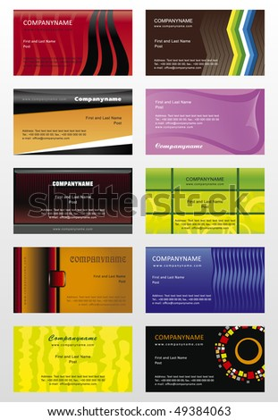 Collection vector background for horizontal business cards - stock vector