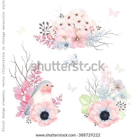 Collection vector decorative design of flowers, Robin bird and leaves in vintage style with butterflies. - stock vector