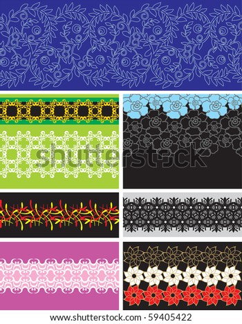 Collection vector seamless pattern wallpapers - stock vector