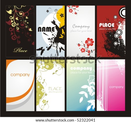 Collection vertical business cards - stock vector