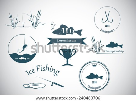 Collection vintage fishing labels  and design elements - stock vector