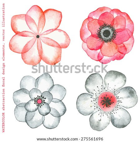 Collection watercolor flowers red and gray colors, abstract in vintage style. - stock vector