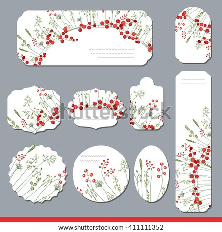 Collection with different floral paper labels for  announcements. Round,square,rectangular, different shapes. Red berries and herbs. Wild flowers. - stock vector