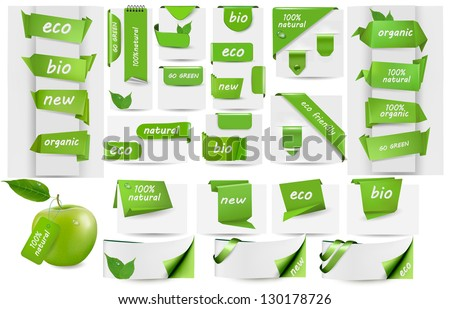 Collection with Eco tags and labels and stickers. Vector illustration - stock vector
