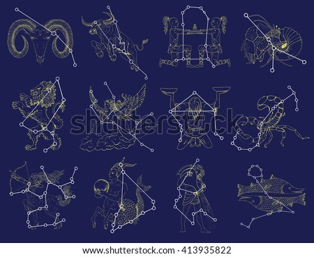 Collection with Zodiac symbols and constellations on blue background. Line art vector with horoscope signs. Doodle mystic and astrology drawing, hand drawn illustration  - stock vector