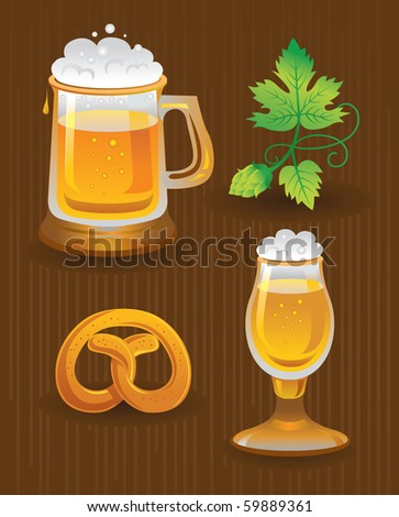 Collections for Oktoberfest. Beer, hops and pretzel - stock vector