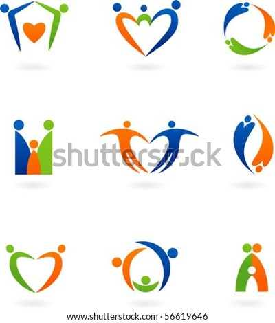 Collections of abstract family icons - stock vector