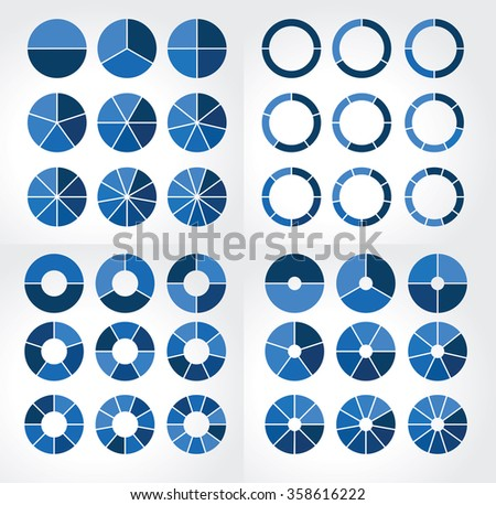 Collections of different circular charts with different dimensions for infographics - stock vector