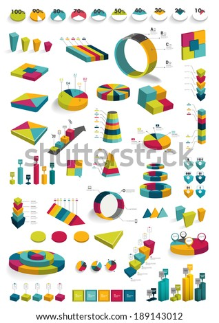 Collections of infographics 3D design diagrams. Various color schemes, boxes, pie charts,, bubbles for print or web design. Vector illustration.  - stock vector