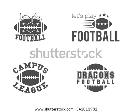 College american football team, championship badges, logos, labels, insignias set in retro style. Graphic vintage design for t-shirt, web. Monochrome print isolated on a white background. Vector.