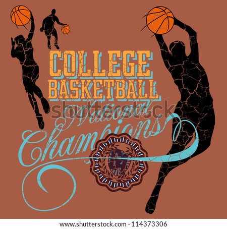 college basketball team - stock vector