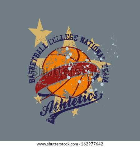 college basketball team vector art - stock vector