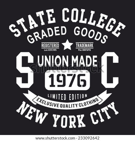 College denim typography, t-shirt graphics, vectors - stock vector