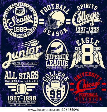 college football graphics for t-shirt,vector graphics - stock vector