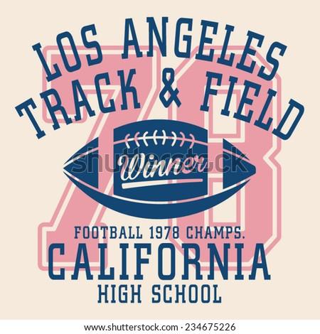 College football typography, t-shirt graphics, vectors - stock vector