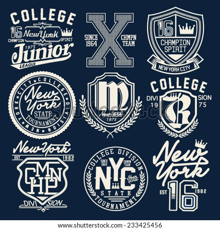 college graphic set for t-shirt - stock vector