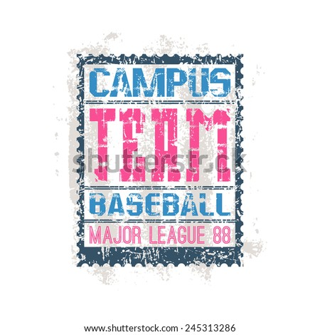 College print baseball team in retro style. Trendy graphic design for t-shirt. Color print on a white background