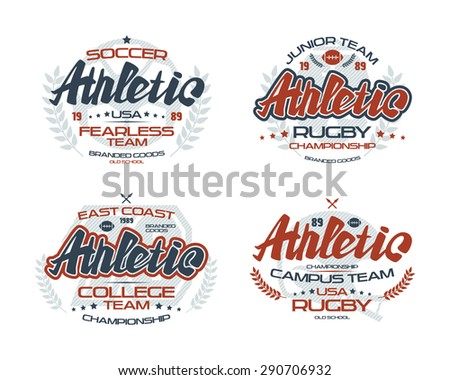 College rugby and soccer team emblems  for t-shirt. Color print on white background - stock vector