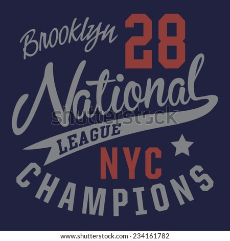 College sport nyc typography, t-shirt graphics, vectors - stock vector