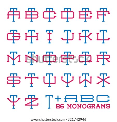 two letters monogram template set personal identity design