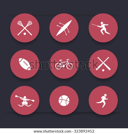 College sports, round red icons, vector, eps10 - stock vector