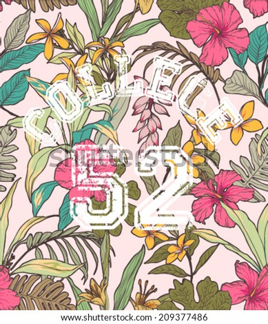 college style sketch of tropical flower vector pattern background - stock vector