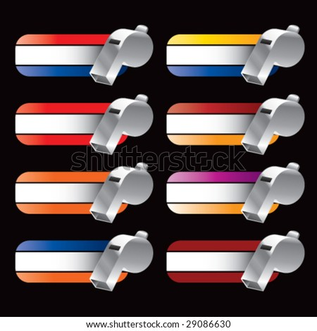 collegiate colored banners with whistles - stock vector