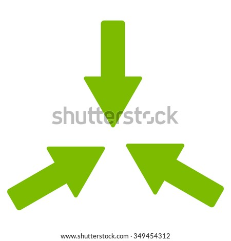Collide Arrows vector icon. Style is flat symbol, eco green color, rounded angles, white background.