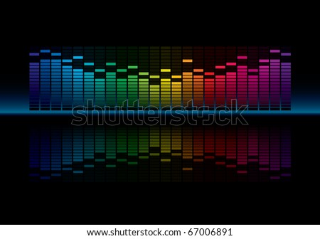 Coloful Graphic Equalizer Display (editable vector) - stock vector