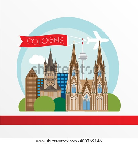 Cologne detailed silhouette. Trendy vector illustration, flat style. Stylish colorful  landmarks. Great St. Martin Church, Cologne Cathedral the symbol of Cologne, Germany.  - stock vector