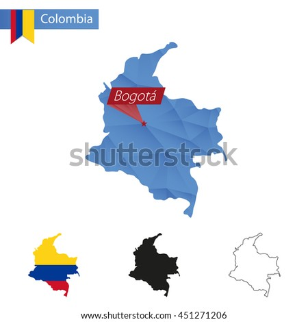 Colombia blue Low Poly map with capital Bogota, versions with flag, black and outline. Vector Illustration.
