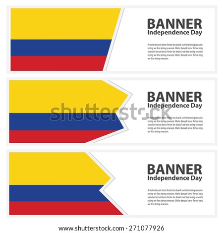colombia Flag banners collection independence day - stock vector