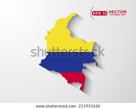 Colombia map with shadow effect