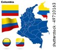 Colombia vector set. Detailed country shape with region borders, flags and icons isolated on white background. - stock vector