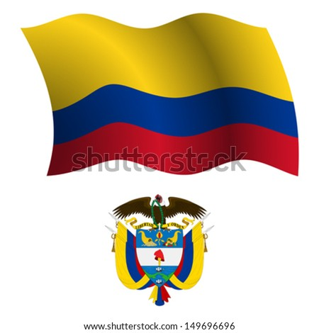 colombia wavy flag and coat of arms against white background, vector art illustration, image contains transparency - stock vector