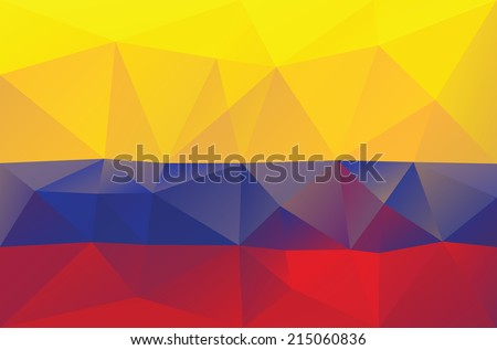 Colombian flag - triangular polygonal pattern - stock vector