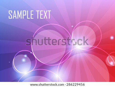 Color abstract background with circles and rays