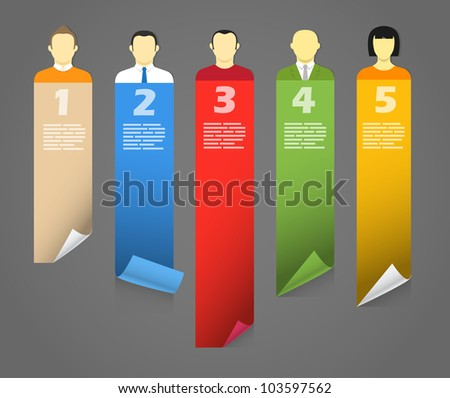 Color account avatars with bending paper banners. Template for a text - stock vector