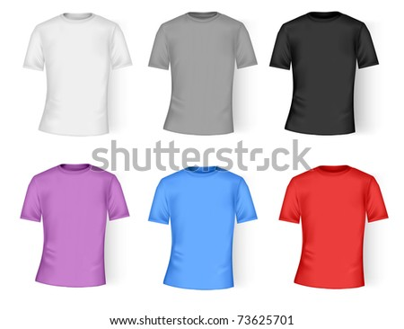 Color and white t-shirt design template. Photo-realistic vector illustration.