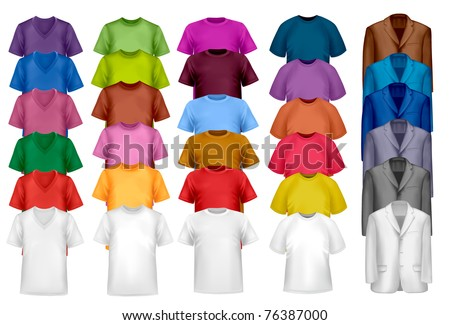 Color and white t-shirt design template. Vector illustration. - stock vector